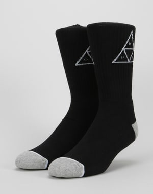 HUF Triple Triangle Crew Socks - Black/White