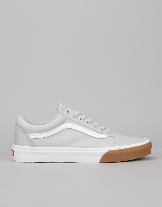 Vans Old Skool Skate Shoes - (Gum Bumper) Glacier Grey/True White