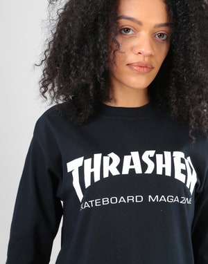Thrasher Womens Skate Mag Oversized L/S T-Shirt - Black