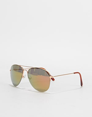 Route One Aviator Sunglasses - Gold (Colour Lens)