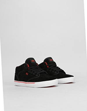 Globe Motley Mid Boys Skate Shoes - Black Suede/White