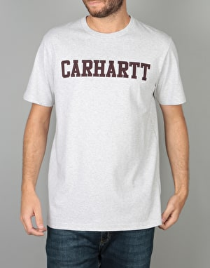 Carhartt S/S College T-Shirt - Ash Heather/Damson
