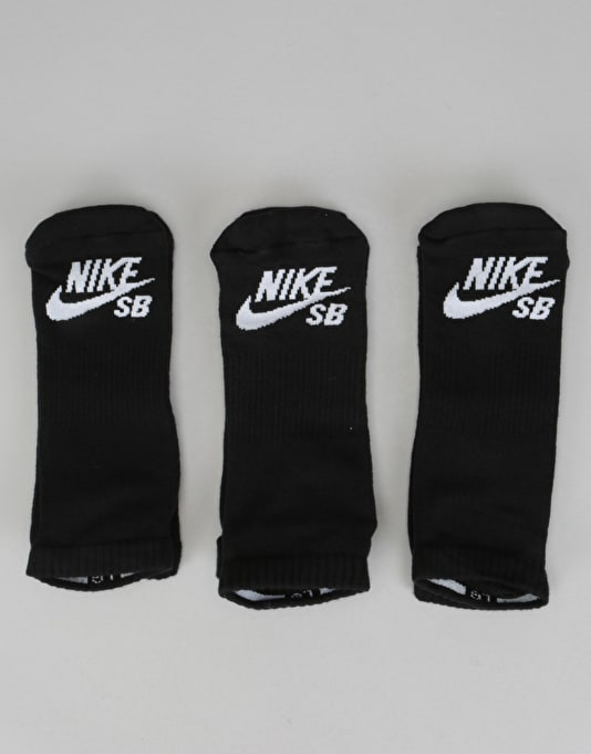 Nike SB No-Show Socks 3 Pack - Black/White
