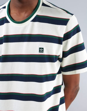 Adidas Clubhouse T-Shirt - Off White/Night Indigo/Green/Scarlet