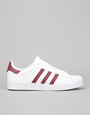 Adidas Superstar Vulc ADV Skate Shoes - White/Collegiate Burgundy/Gold