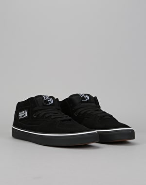 Vans Half Cab Skate Shoes - (Suede) Black/White/Black