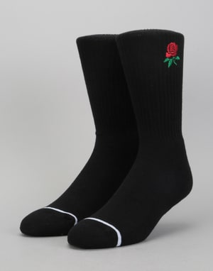 HUF x Butter Goods Rose Crew Socks - Black