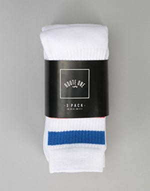 Route One Classic Crew Socks 3 Pack - White/Assorted