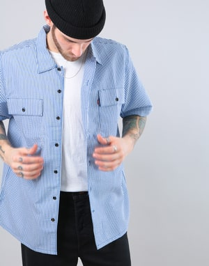 Levi's Skateboarding S/S Button Down Shirt - Blue Seersucker