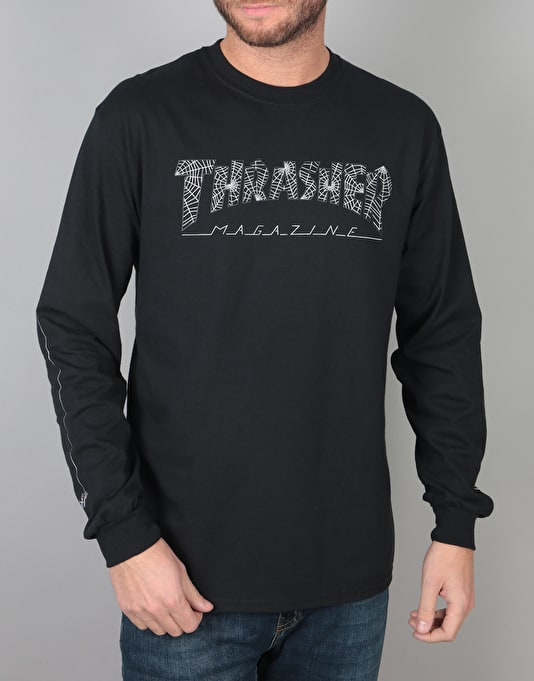 Thrasher Web L/S T-Shirt - Black