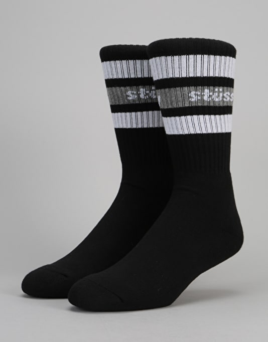 Stüssy Stripe Crew Socks - Black