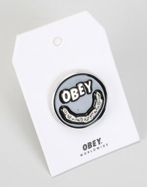 Obey Chain Smile Pin - Black