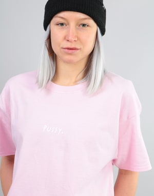 Route One Womens Pussy Oversized T-Shirt - Light Pink