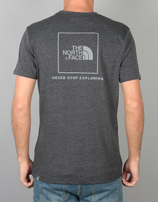 The North Face S/S Red Box T-Shirt - Dk Grey Heather/Silver Reflective