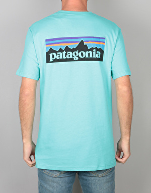 Patagonia P-6 Logo Pocket T-Shirt - Strait Blue