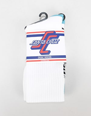 Santa Cruz SC Strip Socks - White
