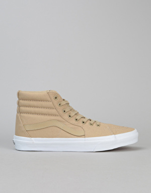 Vans Sk8-Hi Skate Shoes - (Mono Canvas) Khaki/True White