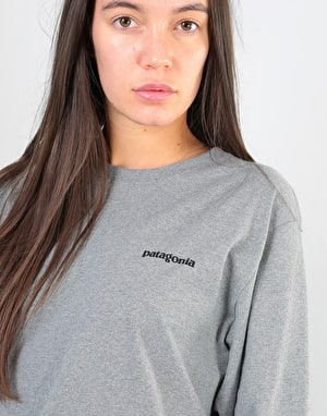 Patagonia Womens L/S P-6 Logo Oversized T-Shirt - Gravel Heather