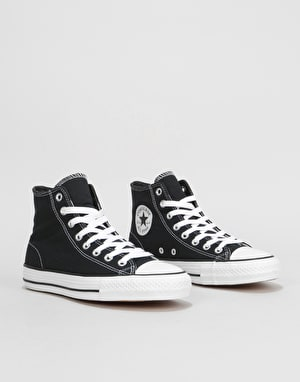 Converse CTAS Pro High Canvas Skate Shoes - Black/Black/White
