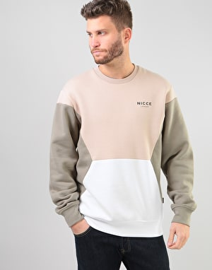 Nicce Track Panel Sweatshirt - Warm Sand/Sage/Cool Grey