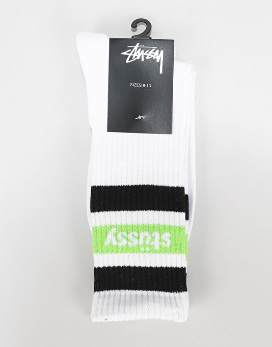 Stüssy Stripe Crew Socks - White