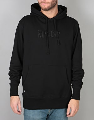 RIPNDIP Logo Embroidered Pullover Hoodie - Black