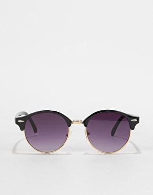 Route One Round Half Frame Sunglasses - Black