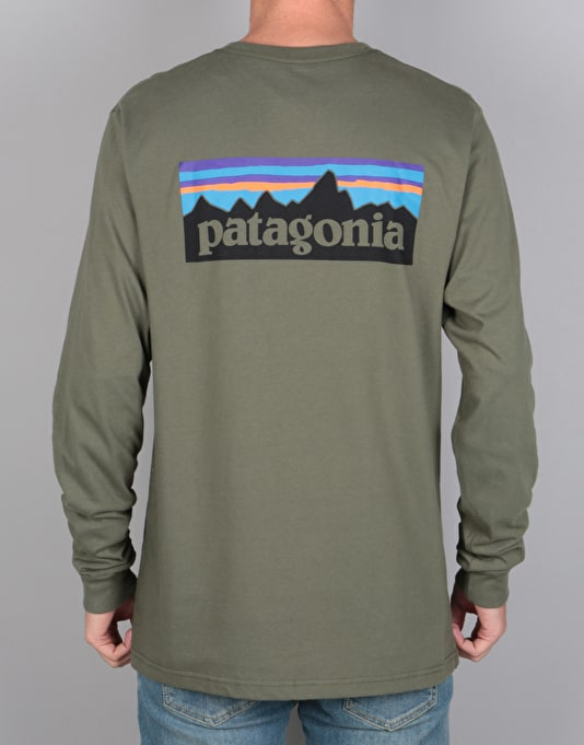 Patagonia L/S P-6 Logo T-Shirt - Industrial Green