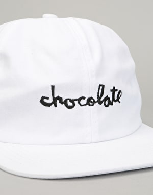 Chocolate Chunk Unstructured 6 Panel Cap - White