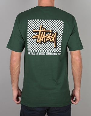 Stüssy Checkers T-Shirt - Dark Forest