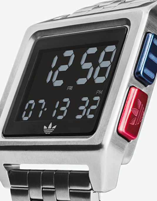 Adidas Archive M1 Watch - Silver/Black/Blue/Red