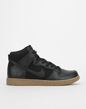 Nike SB BA Zoom Dunk High Pro QS Skate Shoes - Black/Black-Gum