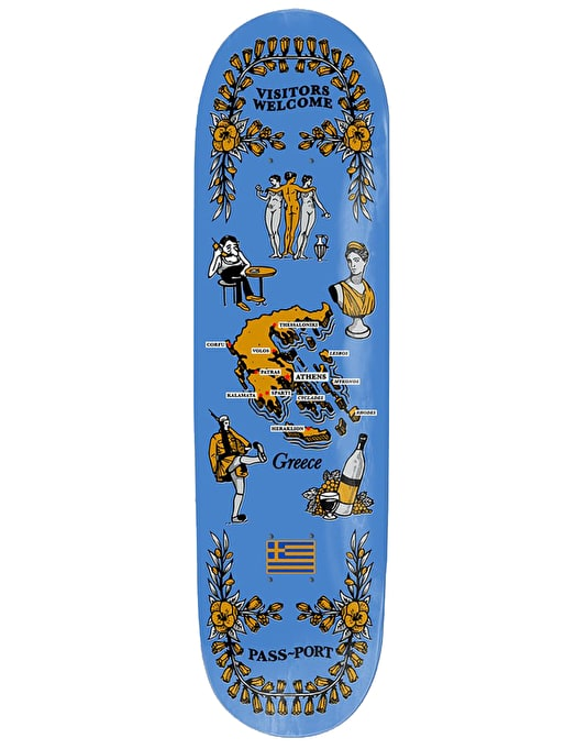 Pass Port Greece International Tea Towels Skateboard Deck - 7.875""