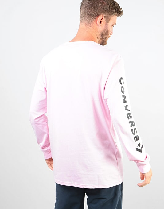 Converse Star Chevron Wordmark L/S T-Shirt - Pink/Black