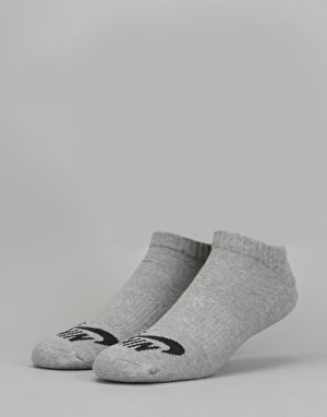 Nike SB No-Show Socks 3 Pack - Dark Grey Heather/White
