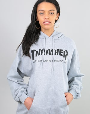 Thrasher Womens Skate Mag Oversized Pullover Hoodie - Heather Grey