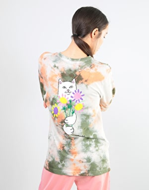RIPNDIP Womens Flowers For Bae Oversized L/S T-Shirt - Green/Pink Acid