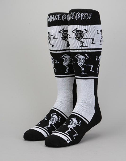 Stinky x Strange Brew HW 2018 Snowboard Socks - White/Black/Red