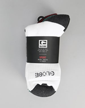Globe Ingles Crew Socks 5 Pack - White
