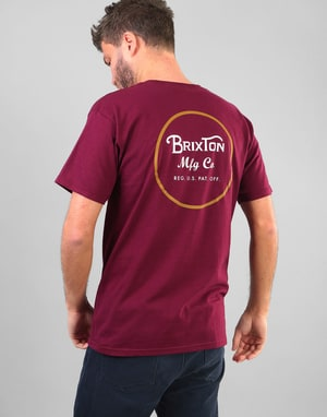 Brixton Wheeler II T-Shirt - Burgundy/Gold