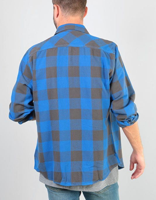 Brixton Bowery L/S Flannel Shirt - Royal/Grey