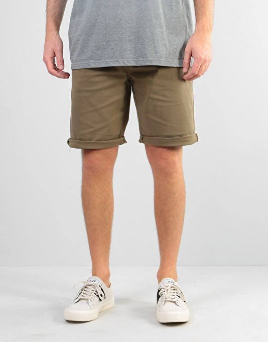 Route One Roll Up Chino Shorts - Light Olive