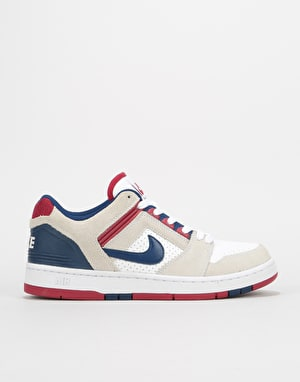 Nike SB Air Force II Low Skate Shoes - White/Blue Void-Red Crush-White