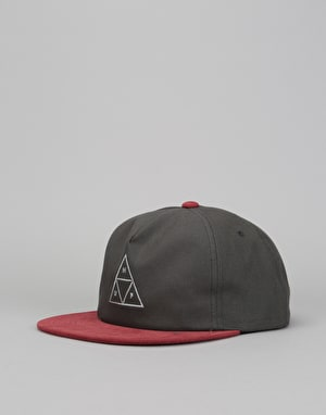 HUF Triple Triangle Snapback Cap - Grey/Burgundy