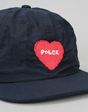 Poler Furry Heart Nylon Floppy 6 Panel Cap - Navy