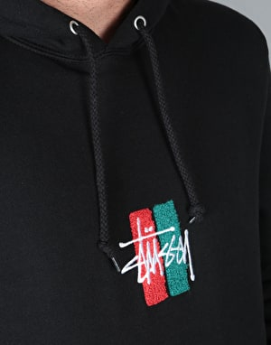 Stüssy Bars Logo Applique Pullover Hoodie - Black