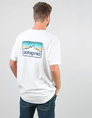 Patagonia Line Logo Badge T-Shirt - White w/Dolomite Blue