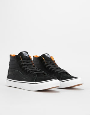 Vans Sk8-Hi Slim Zip Skate Shoes - (Boom Boom) Black/True White