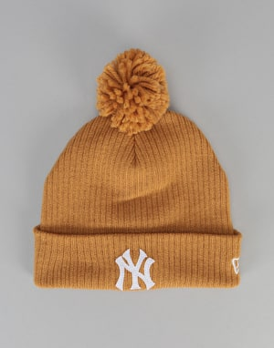 New Era MLB New York Yankees Lightweight Felt Bobble Beanie - Yellow