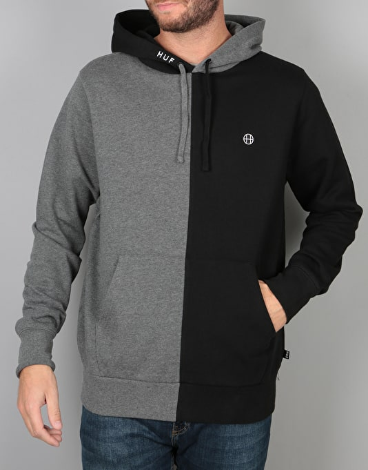 HUF Henry Pullover Hoodie - Black/Charcoal Heather